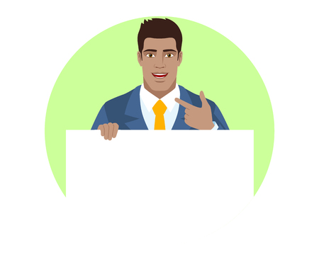 Businessman holding white blank poster and pointing at himself. Portrait of Black Business Man in a flat style. Vector illustration. Illustration