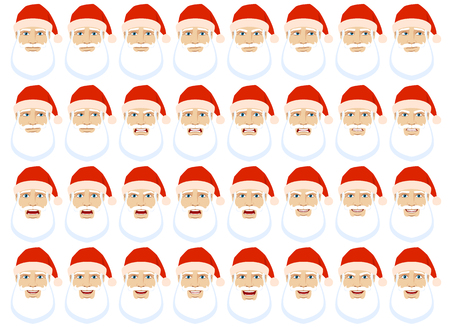 Emotions set. Santa Claus with different emotions and facial expressions. Portrait of Santa Claus character in a flat style. Vector illustration. Illustration