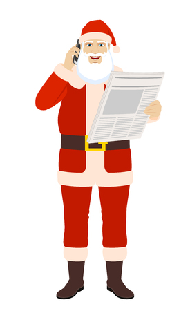Santa claus with newspaper talking on the mobile phone full length portrait in a flat style vector illustration. Illustration
