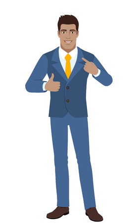 Self promotion businessman pointing the finger at himself and showing thumb up full length portrait of black business man vector illustration.