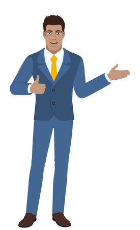 Businessman showing thumb up and showing something full length portrait of black business man vector illustration.