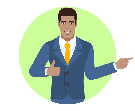 Businessman showing thumb up and pointing somewhere. Portrait of Black Business Man in a flat style. Vector illustration.