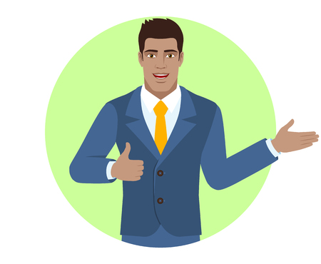 Businessman showing thumb up and showing something. Portrait of Black Business Man in a flat style. Vector illustration. Иллюстрация