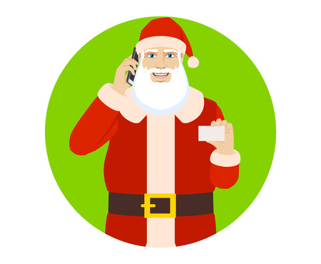 Santa Claus talking on the mobile phone and showing the business card. Portrait of Santa Claus in a flat style. Vector illustration.