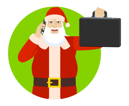 Santa Claus talking on the mobile phone and holding briefcase. Portrait of Santa Claus in a flat style. Vector illustration.