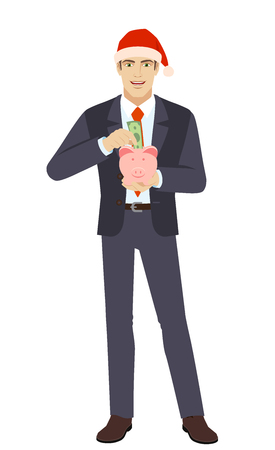 Businessman in Santa hat puts banknote in a piggy bank. Full length portrait of businessman in a flat style. Vector illustration.