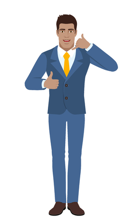 Businessman showing a call me sign and showing thumbs up illustration. Illustration