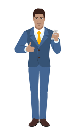 Businessman with mobile phone showing thumb up. Full length portrait of Black Business Man in a flat style. Vector illustration.