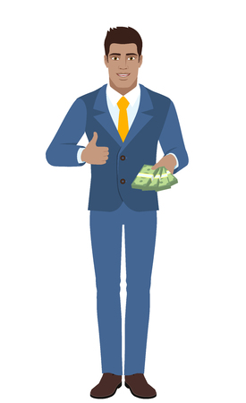 Businessman  with cash mone showing thumb up. Full length portrait of Black Business Man in a flat style. Vector illustration.