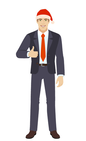 Businessman in Santa hat showing thumb up. Full length portrait of businessman in a flat style. Vector illustration.