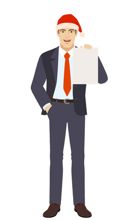 Businessman in Santa hat with hand in pocket showing the blank paper. Full length portrait of businessman in a flat style. Vector illustration. Illustration