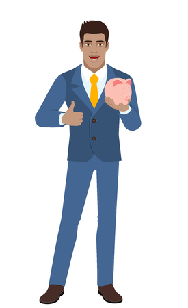 Businessman with piggy bank showing thumb up. Full length portrait of Black Business Man in a flat style. Vector illustration. Illustration