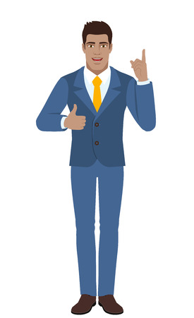 Businessman pointing up and showing thumb up. Full length portrait of Black Business Man in a flat style. Vector illustration.