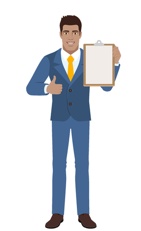 Businessman showing thumb up and holding clipboard.