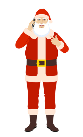 Santa Claus talking on the mobile phone and pointing at himself. Illustration