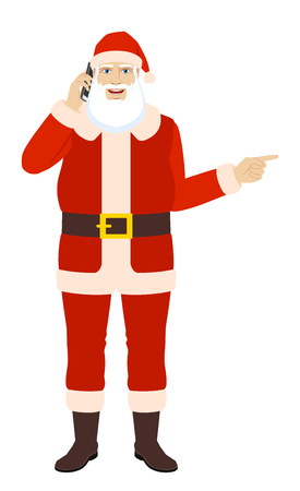Santa Claus talking on the mobile phone and pointing somewhere. Иллюстрация