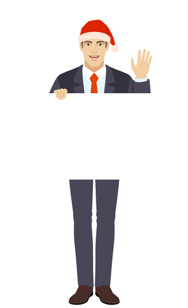 Businessman in Santa hat holding white blank poster and greeting someone with his hand raised up. Illustration