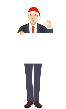 Businessman in Santa hat holding white blank poster and showing the business card. Illustration