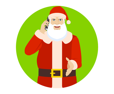 Santa Claus talking on the mobile phone and gives a hand for a handshake. Portrait of Santa Claus in a flat style. Vector illustration.