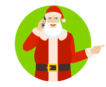Santa Claus talking on the mobile phone and  pointing somewhere. Portrait of Santa Claus in a flat style. Vector illustration.
