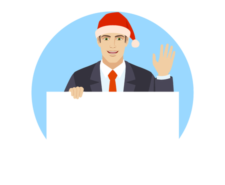 Businessman in Santa hat holding white blank poster and greeting someone with his hand raised up. Portrait of businessman in a flat style.