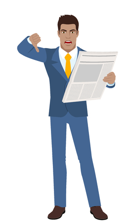 Businessman with newspaper showing thumb down gesture as rejection symbol down. Full length portrait of black business man in a flat style.
