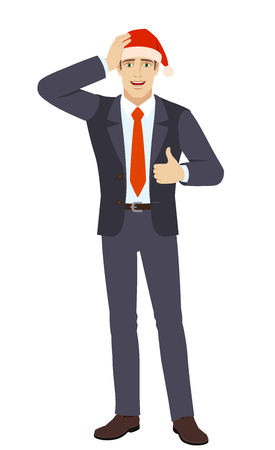 Businessman in Santa showing thumb up and grabbed his head. Full length portrait of businessman in a flat style. Vector illustration.