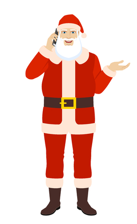 Santa Claus talking on the mobile phone and gesticulating. Full length portrait of Santa Claus in a flat style. Vector illustration. Ilustração