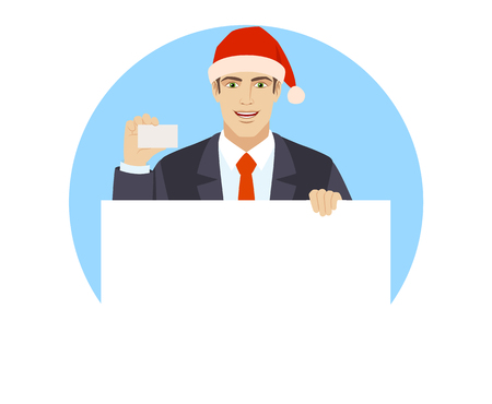 Businessman in Santa hat holding white blank poster and showing the business card. Portrait of businessman in a flat style. Vector illustration.