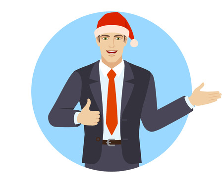 Businessman showing thumb up and showing something. Portrait of businessman in a flat style. Vector illustration. Ilustração