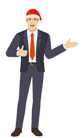 Businessman in Santa Businessman showing thumb up and showing something. Full length portrait of businessman in a flat style. Vector illustration.