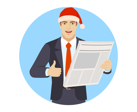 Businessman in Santa hat with newspaper showing thumb up.