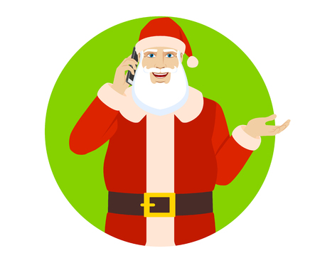 Santa Claus talking on the mobile phone and gesticulating.