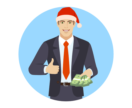 Businessman in Santa hat with cash money showing thumb up. Portrait of businessman in a flat style. Vector illustration.