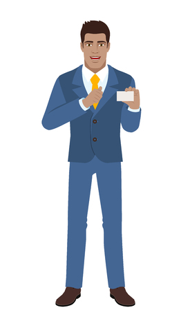 Businessman showing the business card and pointing at himself. Full length portrait of Black Business Man in a flat style. Vector illustration.