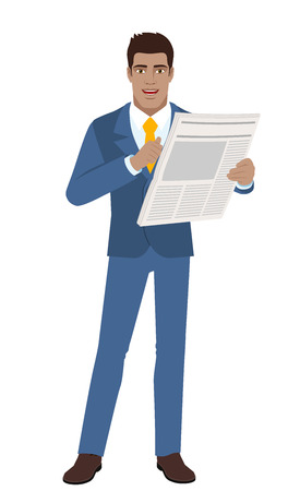Businessman with newspaper pointing at himself. Full length portrait of Black Business Man in a flat style. Vector illustration. Illustration