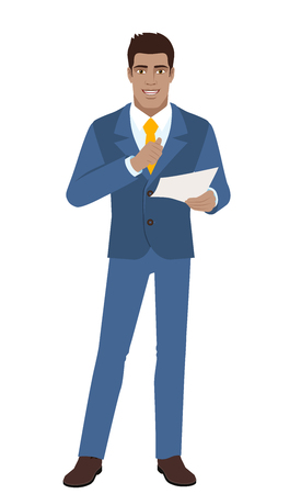 Businessman pointing at himself and holding the paper. Full length portrait of Black Business Man in a flat style. Vector illustration. Illustration