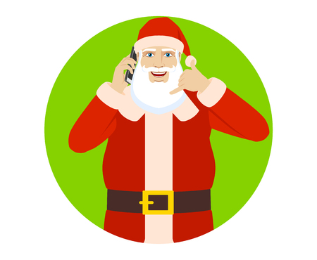 Santa Claus talking on the mobile phone and showing a call me sign. Portrait of Santa Claus in a flat style. Vector illustration. Illustration