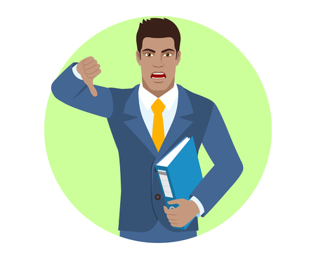 Businessman holding a folder and showing thumb down gesture as rejection symbol. Portrait of Black Business Man in a flat style. Vector illustration. Illustration