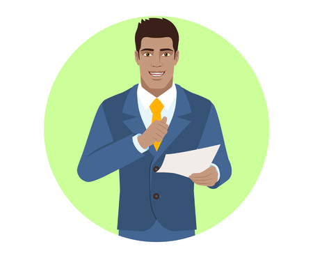 Businessman pointing at himself and holding the paper. Portrait of Black Business Man in a flat style. Vector illustration.