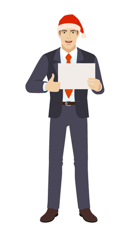 Businessman in Santa hat showing thumb up and showing the blank paper. Full length portrait of businessman in a flat style. Vector illustration.