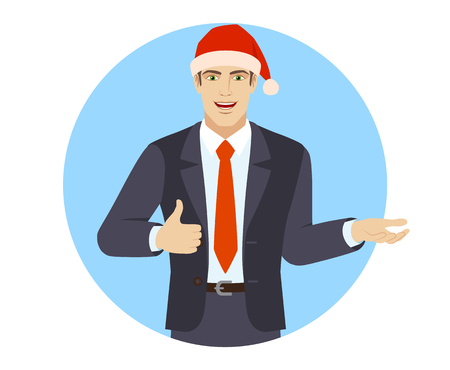 Businessman in Santa hat gesticulating and showing thumb up. Portrait of businessman in a flat style. Vector illustration.