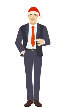Businessman in Santa hat  with hand in pocket gives a business card. Full length portrait of businessman in a flat style. Vector illustration. Illustration