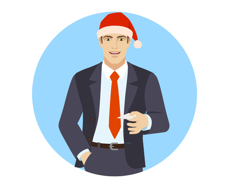 Businessman in Santa hat with hand in pocket gives a business card. Portrait of businessman in a flat style. Vector illustration.
