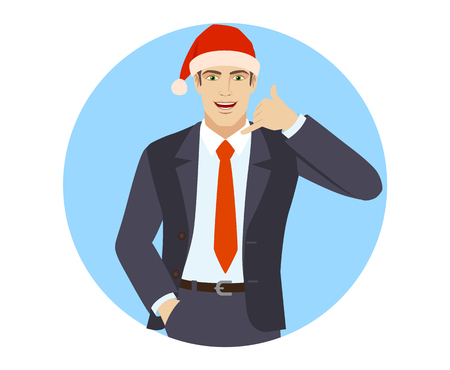Businessman in Santa hat with hand in pocket showing a call me sign. Portrait of businessman in a flat style vector illustration.