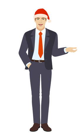 Businessman in Santa hat with hand in pocket gesticulating. Full length portrait of businessman in a flat style. Vector illustration.