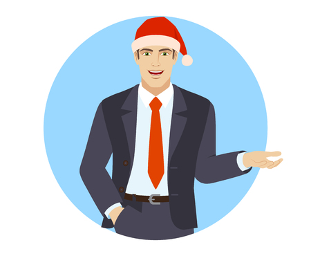 Businessman in Santa hat with hand in pocket gesticulating. Portrait of businessman in a flat style. Vector illustration.
