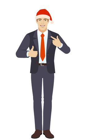 Businessman showing thumb up and  pointing the finger at himself. Full length portrait of businessman in a flat style. Vector illustration. Illustration
