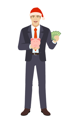 Businessman holding a piggy bank and showing a money. Full length portrait of businessman in a flat style. Vector illustration. Ilustracja