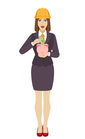 Businesswoman in construction helmet puts banknote in a piggy bank. Full length portrait of businesswoman in a flat style. Vector illustration. Illustration